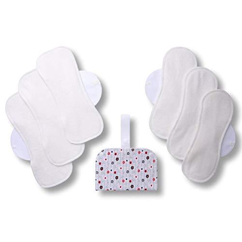 Waschbare Stoffbinden, 6er Pack (Größe: L+XL) Bio Bambus Wiederverwendbare Binden mit Flügeln; MADE IN EU; Damenbinden für Menstruation, Inkontinenz; Stoffbinden aus Bio Bambus ohne Chemikalien