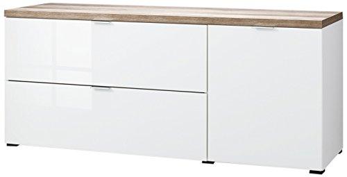 CS Schmalmöbel 45.012.505/020 TV-Board Cleo Typ 14, 163 x 50 x 67 cm, weiß/wildeiche / weißglas