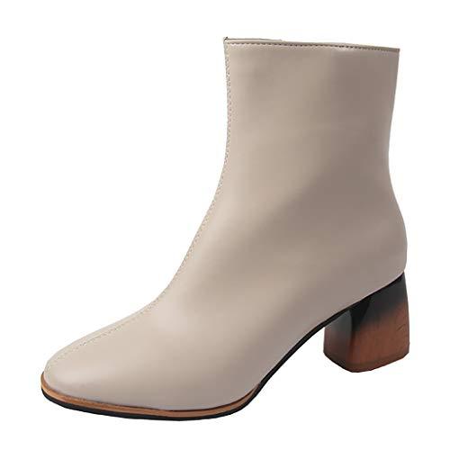 Sanahy Damen Spitz Blockabsatz Stiefeletten High Heels Ankle Boots Reißverschluss Kurzschaft Stiefel 6cm Dicker Absatz Schuhe -