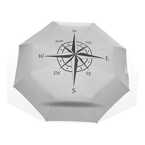 Reiseregenschirm Eine Antike Kompassrose Handgezeichnete Anti-UV-Kompakte 3-Fach Kunst Leichte Klappschirme (Außendruck) Winddicht Regen Sonnenschutzschirme Für Frauen Mädchen Kinder