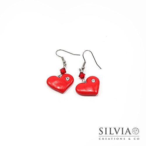 Orecchini pendenti con cuore rosso e strass San Valentino