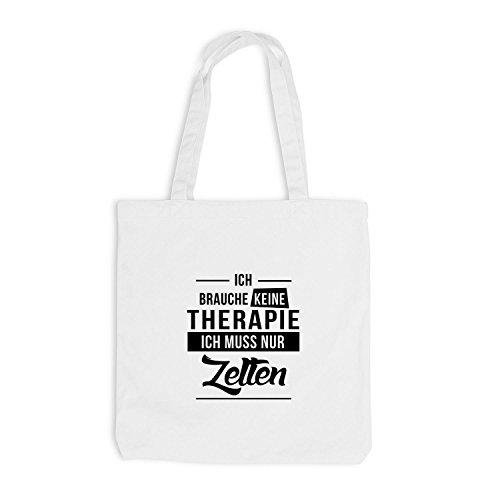 Jutebeutel - Ich Brauche Keine Therapie - Zelten Weiß