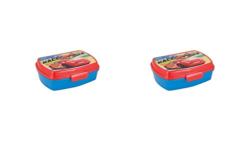 ALMACENESADAN 2558; Pack 2 Disney Cars rechteckige Sandwichmaker, 2 Farben; Abmessungen (16,5 x 11,5 x 5,5 cm) Kunststoffprodukte; Kein BPA