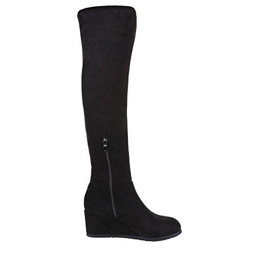 Ital-Design Overknee Stiefel Damen Schuhe Klassischer Stiefel Keilabsatz/ Wedge  Overknee Reißverschluss Stiefel Schwarz ...