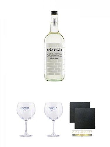 Brick Gin Organic Dry Gin 1,0 Liter + Citadelle Ballon GIN Glas 1 Stück + Citadelle Ballon GIN Glas 1 Stück + Schiefer Glasuntersetzer eckig ca. 9,5 cm Ø 2 Stück