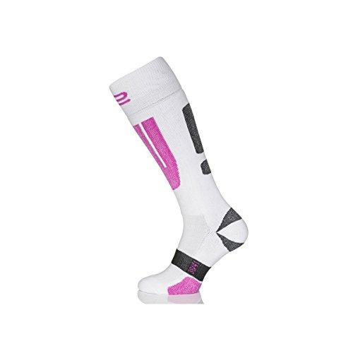 Prosske Skisocken Snowboardsocken Modell XS-1 atmungsaktiv und warm Damen Herren Kinder - Weiss-rosa, 31-35