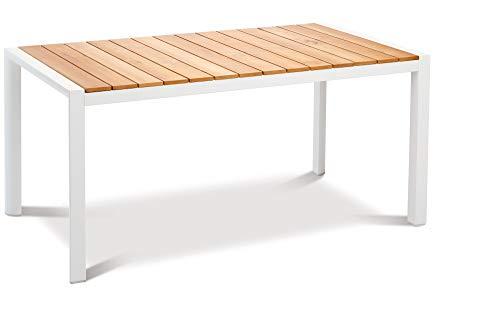 Best Paros Esstisch, weiß, Aluminium/Teakholz, 210 x 90 cm, Teakholz-Tischleisten