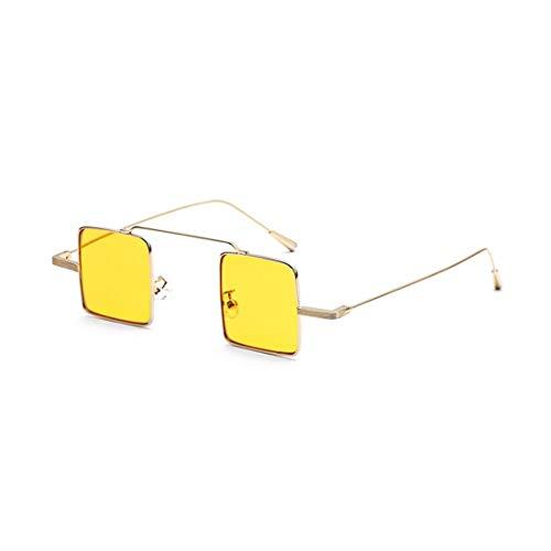 Polarisierte Sonnenbrille mit UV-Schutz Kleine quadratische Linse Sonnenbrillen für Frauen Männer Unisex Metall gerahmt Sonnenbrille Retro Persönlichkeit umrandeten stilvolle Sonnenbrille zum Fahren U