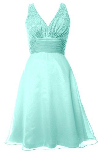 MACloth Women V Neck Chiffon Lace Short Bridesmaid Dress Wedding Party Gown Aqua
