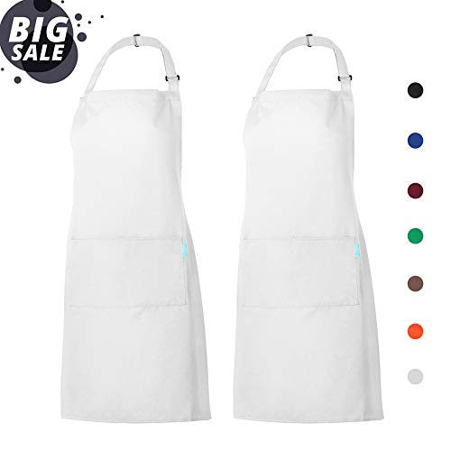 esonmus Schürze Kochschürze Küchenschürze 2 Set mit 2 Taschen Latzschürze kochschürze für Frauen Männer Chef verstellbarem Nackenband (Weiß) -