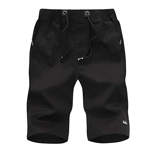 Kurze Jeans Cargo Shorts Jogger Kurze Hose Basic 3/4 Freizeit Sport Fünf-Cent-Hosen Baumwolle mit Gürtel Strand Kurze Hosen(Schwarz,XXXL) ()