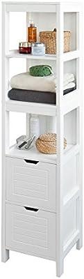 SoBuy® Mueble columna de baño, Armario para baño,estanterías de baño, FRG126-W, ES
