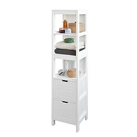 SoBuy® FRG126-W Meuble Colonne de Salle de Bain Armoire Toilette haute – 4 étagères et 2 tiroirs- Blanc