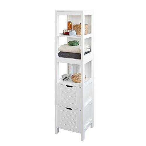 SoBuy® Mueble columna de baño, Armario para baño - 3 estantes y 2 cajones, FRG126-W, ES