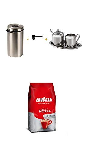 Xavax Edelstahldose für 1kg Kaffeebohnen silber + Kaffeelöffel schwarz+Xavax Milch- und Zucker-Set aus Edelstahl, 3-teilig + Lavazza Kaffee Qualita Rossa, ganze Bohnen, Bohnenkaffee, 1000g