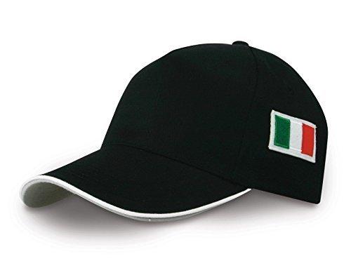 Cappello berretto con visiera ricamo bandiera italia cappellino tricolore (nero)
