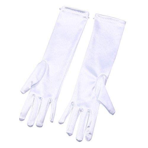 YiZYiF Kinder Santin Perlen Handschuhe in weiß - für Mädchen-Kostüm Halloween Karneval Verkleidung Party Handschuhen lang für 3-11 Jahre Weiß M (Für 3-6 Jahre)