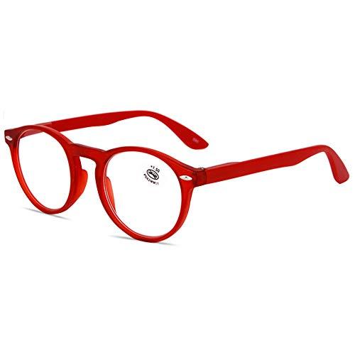 KOOSUFA Lesebrille Herren Damen Retro Runde Nerdbrille Lesehilfen Sehhilfe Federscharniere Vollrandbrille Anti Müdigkeit Brille mit Stärke 1.0 1.5 2.0 2.5 3.0 3.5 4.0 (Rot, 2.0)