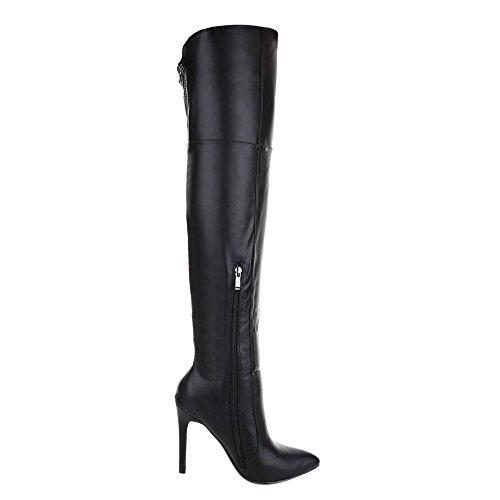 Overknee Stiefel Damenschuhe Klassischer Stiefel Pfennig-/Stilettoabsatz High Heels Reißverschluss Ital-Design Stiefel Schwarz