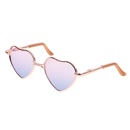 MagiDeal Fashion Puppen Brille Sonnenbrille mit Herz Rahmen für 1/6 Blythe Puppen - Goldrahmen + Rosa blaues Objektiv