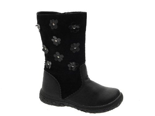 NEW GIRLS KIDS CHILDRENS FAUX SUEDE LEATHER FLOWER BIKER RIDING BOOTS BLACK SHOES SIZE UK 5