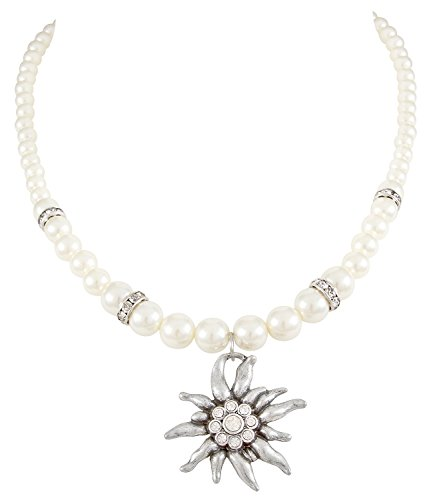 SIX Kurze Perlenkette mit Edelweiß-Anhänger und Glitzersteinen, Halskette perfekt für JGA/Hochzeit/Oktoberfest, weiß-Silber (741-677)