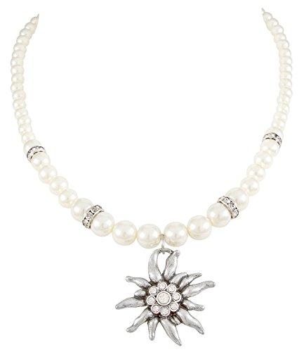 edelweiss anhaenger SIX Halskette: Kurze Perlenkette mit Edelweiß-Anhänger und Glitzersteinen, perfekt für JGA/Hochzeit/Oktoberfest, weiß-Silber (741-677)