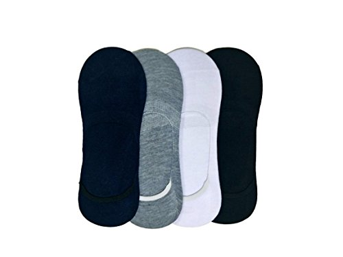 Qraftink Mercerised Cotton Unisex No Show Combo Of 4 Liner Socks (Fits Upto Uk Size 10, Us Size 12 & Euro Size 45)