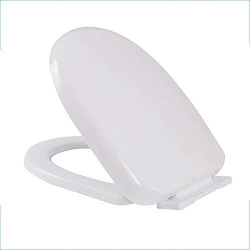 WC-Abdeckung weich geschlossen Anti-Rutsch-Wärme Antibakterielles Material aus weißem Kunststoff / Einknopf-Scharnier-Entriegelung Schnelle Reinigung / Installation 360 Grad oben und unten verstellbar