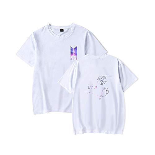 Zeruike Bangtan Boys Unisex KPOP BTS Love Yourself Tshirt Merchandise Jimin Jin Suga J Hope Rap Monster V Jung Kook Fan Konzert Tees, Weiß-3, XL (Rap-t-shirts)