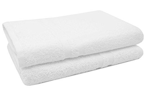 ZOLLNER® 2er Set Duschtücher 70x140 cm weiß, direkt vom Hotelwäschespezialisten, Serie
