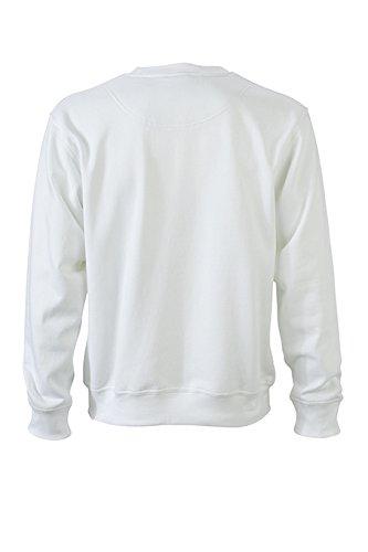 James & Nicholson Herren Workwear Sweat Sweatshirt Weiß (White)