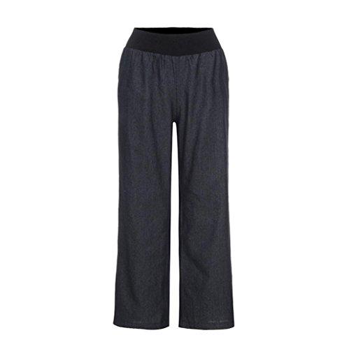 Damen Weite Bein Lange Hose Denim Elegante Hoher Taille Lange Hose Casual Lose Yogahosen mit ausgestelltem Bein Jogginghose Sporthose by Internet_8810 (Schwarz, L)