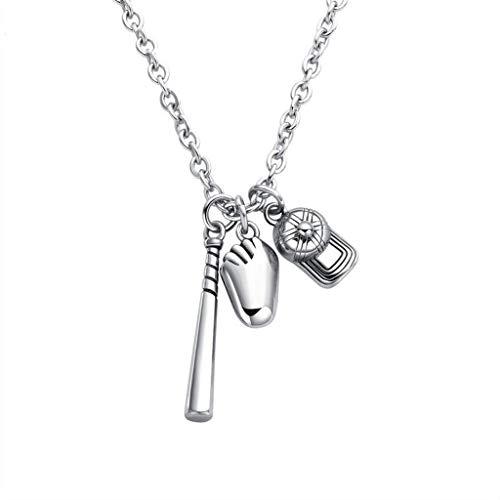 KIMSAI Baseballschläger Handschuh Hut Halskette Anhänger Mode Herren Baseball Halskette Persönlichkeit Kreativität Allergenfrei Wild Schmuck Halskette literarischen Retro,Silver