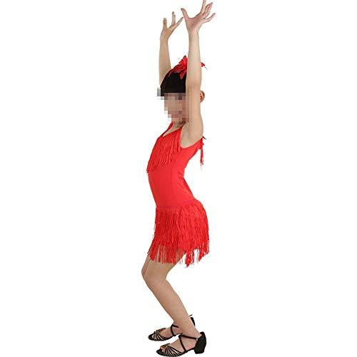Kostüm Flapper Red Mädchen - Wanlianer Tango Tanzkleid Outfits Mädchen Tanz Kostüm Outfits Quasten Tassle Dress (Farbe : Rot, Größe : 150cm)