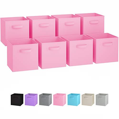 Faltbare Aufbewahrungsboxen (8er Set)   Boxen Werden Mit 2 Griffen   Regal Korb   Faltbox Regalorganizer aus Stoff   Aufbewahrungsbox für Kallax 26,5 x 26,5 x 28 cm (Sunny Rosa)