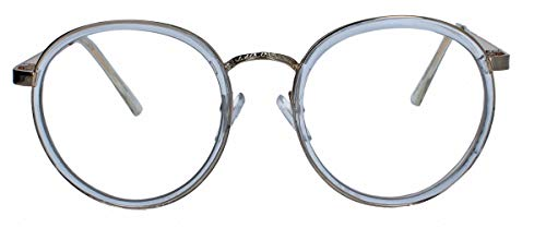 Filigrane Pantobrille Retro Nerd Brille runde Hornbrille Metallrahmen gold LP40 (Transparent)