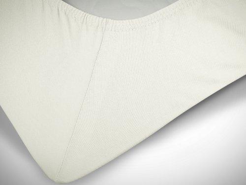 npluseins klassisches Jersey Spannbetttuch - erhältlich in 34 modernen Farben und 6 Verschiedenen Größen - 100% Baumwolle, 70 x 140 cm, Perlmutt - 6