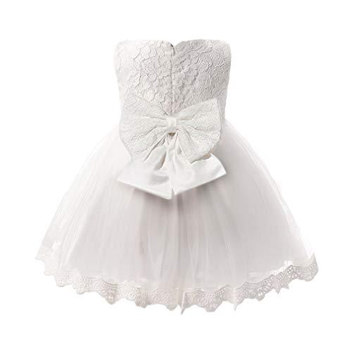 Baby Mädchen Prinzessin Kleid Spitze Bowknot ärmellos Brautjungfernkleid Hochzeit Festlich Tüll Tutu Partykleid Kleider für Kleinkinder Kinder Weiß 3-4 Jahre