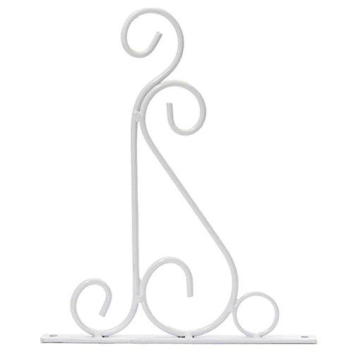 KINGDUO Classique en Fer Forgé Romantique Fleur Stand Crochet Forgé Fer Plantes Pots Crochets-Blanc