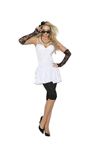 Zabeanco Sexy Damen Rock Star Diva Rollenspiel-Kostüm Halloween - Weiß - Medium (Children's Pop Star Kostüm)