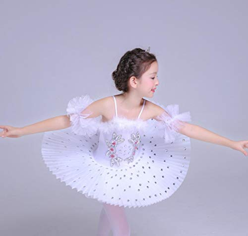 ZYLL Kinderballett Tutu Dress Swan Lake Multicolor Ballett Kostüme Kids Girl Ballett Dress,White,100CM (White Girl Kostüm)