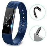Torus Pro ID115 blau sehr Fit Activity Tracker und Fitness Uhr mit Blau Gurt mit Schrittzähler und Kalorienzähler.