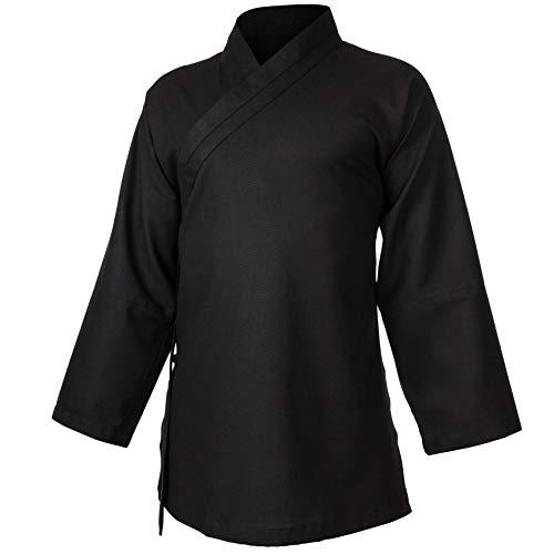 wu designs Leinen (Mittel) Kung Fu & Tai Chi Shirt Diagonaler Kragen Langarm - Taiji Anzug Dunkelblau 160