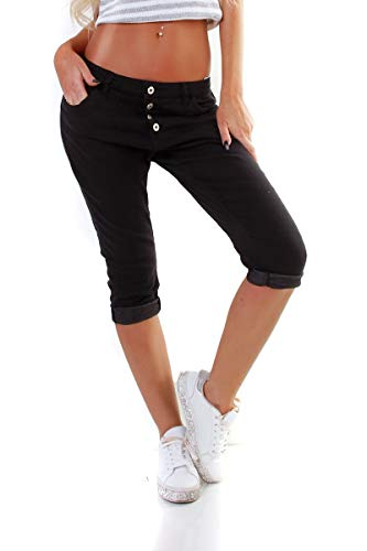 OSAB-Fashion 10980 LEXXURY Damen Capri Jeans Hose Boyfriend Haremsjeans Knopfleiste Slimfit Stretch-Denim