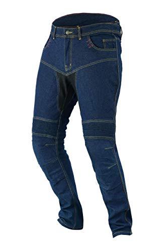 JET Pantaloni Moto Uomo Jeans Kevlar Aramid Con l'armatura TECH PRO (66 Lungo/Vita 50' Lunghezza 34'(8XL), Blu)