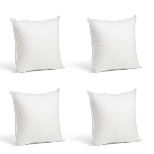 4 Rellenos cojines sofa hipoalergénicas + 4 fundas cojines lisos decoracion y para almohadas de cama...