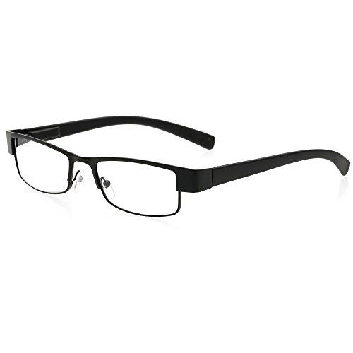BestWahl Lesebrillen Metall Sehhilfe Augenoptik Brille Lesehilfe für Damen Herren (1 Stück Schwarz, 1.0)