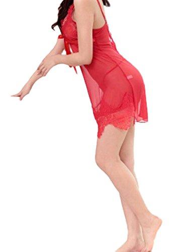 Pigiama Sexy Lingerie Filato Rete Sonno Uniformi Gonna Trasparente Bretelle Pigiami Sexy Degli Indumenti Da Notte Adatta Biancheria Intima Per Adulti Regali Di Natale Red