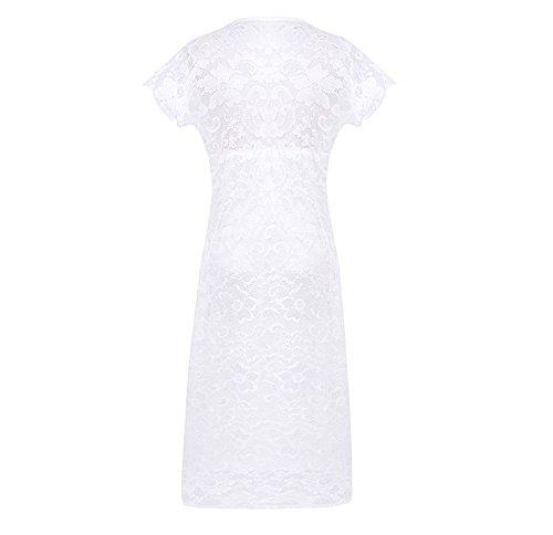 Damen Partykleider Knielang V Ausschnitt Kurzarm Figurbetont Spitze Sommer Cocktailkleider Abendkleider Weiß